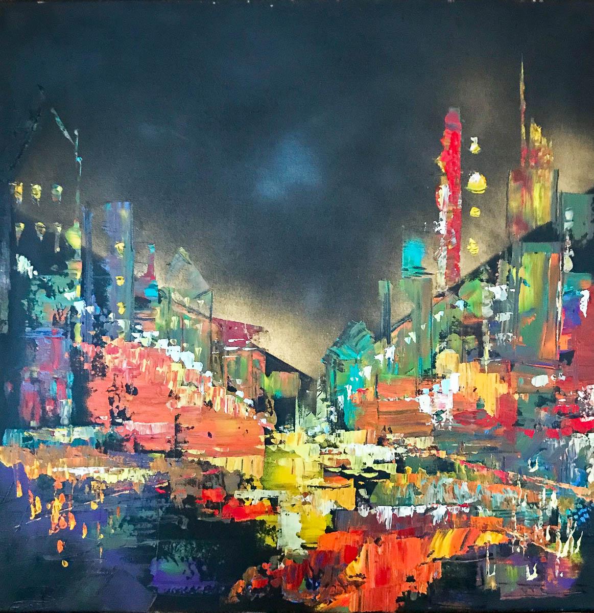 Night City #2, Acrylic Painting, Canvas 60 x 50 cm (24 x 20 in)   Olga  FineArts  